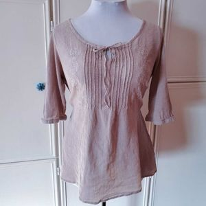 Tops - Pretty Taupe Embroidered Top